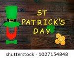 saint patrick's day. gold... | Shutterstock . vector #1027154848