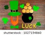 saint patrick's day. gold... | Shutterstock . vector #1027154860