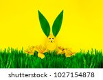 happy easter day. yellow easter ... | Shutterstock . vector #1027154878