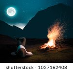 Small photo of Man relaxing next to the fire camp into the night, admiring the stars.
