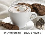 cup of hot chocolate with... | Shutterstock . vector #1027170253