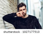 young bearded man  model of... | Shutterstock . vector #1027177513