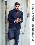 young bearded man  model of... | Shutterstock . vector #1027177546