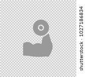 hand holding dumbbell vector... | Shutterstock .eps vector #1027186834