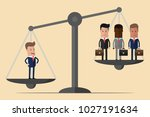 one successful man outweighing... | Shutterstock .eps vector #1027191634