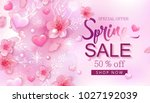 spring sale banner with cherry... | Shutterstock .eps vector #1027192039