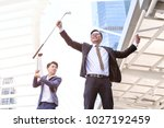 great job  cheerful young... | Shutterstock . vector #1027192459