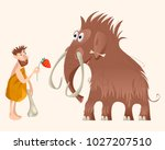 caveman and mammoth. ice age.... | Shutterstock .eps vector #1027207510