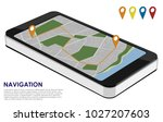 isometric smartphone with city...   Shutterstock .eps vector #1027207603