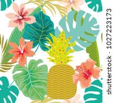 tropical  light background with ...   Shutterstock .eps vector #1027223173