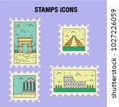 stamp landmark icon vector | Shutterstock .eps vector #1027226059