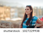 happy travel tourist girl... | Shutterstock . vector #1027229938