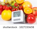 blood pressure monitor with... | Shutterstock . vector #1027233658