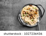 dish with delicious risotto and ... | Shutterstock . vector #1027236436
