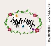 hand writing word spring. brush ... | Shutterstock .eps vector #1027237243