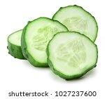 cucumber and slices isolated on ... | Shutterstock . vector #1027237600