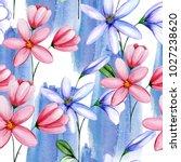delicate watercolor flowers in ... | Shutterstock . vector #1027238620