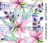 delicate watercolor flowers in ... | Shutterstock . vector #1027238644