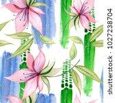 delicate watercolor flowers in ... | Shutterstock . vector #1027238704