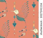 exotic aztec birds seamless... | Shutterstock .eps vector #1027241116