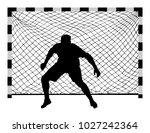 soccer goalkeeper silhouette... | Shutterstock .eps vector #1027242364