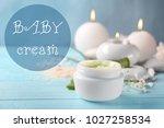 jar with baby body cream on...   Shutterstock . vector #1027258534