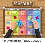 bulletin board hanging on brick ... | Shutterstock . vector #1027265299