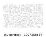 grey line art doodle image on a ... | Shutterstock .eps vector #1027268689