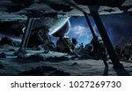 astronauts exploring a huge... | Shutterstock . vector #1027269730