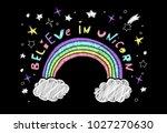 cute embroidery believe in... | Shutterstock .eps vector #1027270630