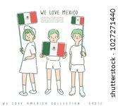 boy and girl holding national... | Shutterstock .eps vector #1027271440