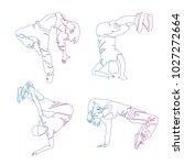 hip hop dancer  continuous line ... | Shutterstock .eps vector #1027272664