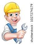 a plumber or builder contractor ... | Shutterstock .eps vector #1027274179