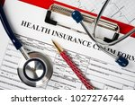 health insurance form with... | Shutterstock . vector #1027276744