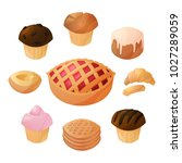 a set of baking  flour products ... | Shutterstock .eps vector #1027289059