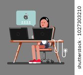 girl hacker hacked | Shutterstock .eps vector #1027303210