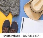 flat lay traveler accessories... | Shutterstock . vector #1027311514