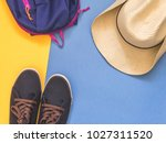 flat lay traveler accessories... | Shutterstock . vector #1027311520