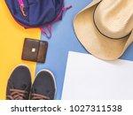 flat lay traveler accessories... | Shutterstock . vector #1027311538