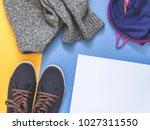 flat lay traveler accessories... | Shutterstock . vector #1027311550