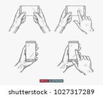 hands holding phone set.... | Shutterstock .eps vector #1027317289
