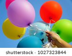 happy holiday concept   hand... | Shutterstock . vector #1027323844