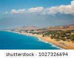 kommos  beautiful sandy beach... | Shutterstock . vector #1027326694
