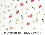 floral pattern made of red and... | Shutterstock . vector #1027339744