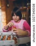 little girl enjoying in easter... | Shutterstock . vector #1027340038