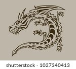dragon  ink hand drawn vector... | Shutterstock .eps vector #1027340413