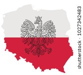 poland map with eagle and white ... | Shutterstock .eps vector #1027342483