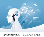 businessman climbing ladder to... | Shutterstock .eps vector #1027344766