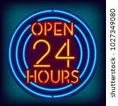open 24 hours neon sign....   Shutterstock .eps vector #1027349080