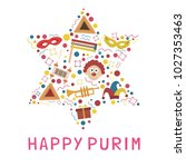 purim holiday flat design icons ...   Shutterstock .eps vector #1027353463